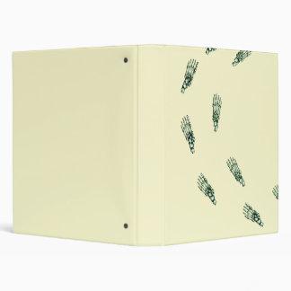 Skeletal foot prints in green binder