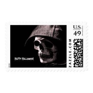 Skeletal Grim Reaper Happy Halloween Stamp