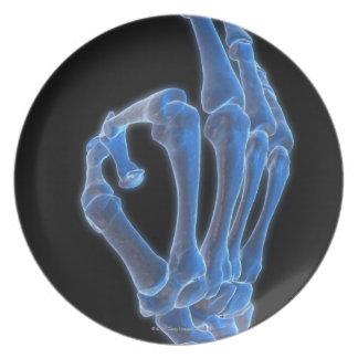Skeletal Hand Gesture Melamine Plate