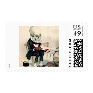 Skeletal Last Rites Postage Stamp