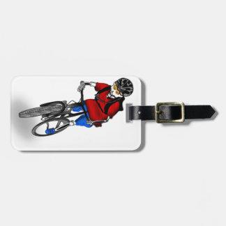 Skeletal Mountain Biker Bag Tag
