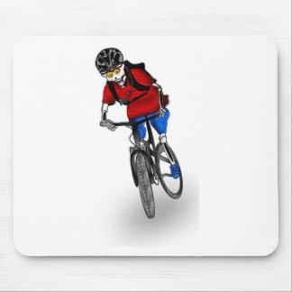 Skeletal Mountain Biker Mouse Pad