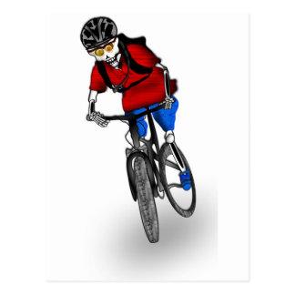 Skeletal Mountain Biker Postcard