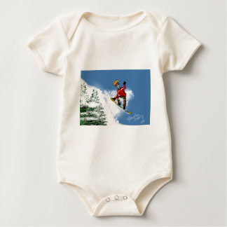 Skeletal Snow Boarder Baby Bodysuit
