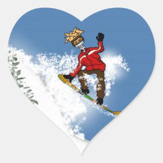 Skeletal Snow Boarder Heart Sticker