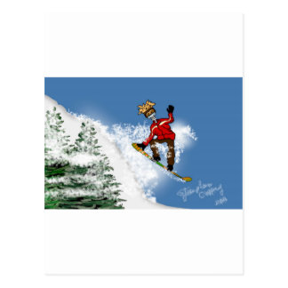 Skeletal Snow Boarder Postcard