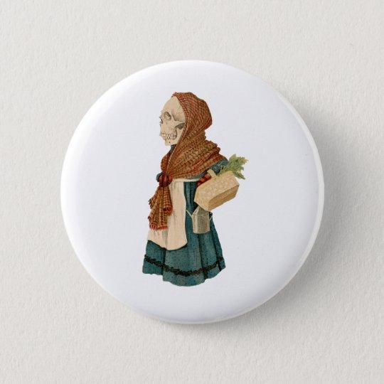Skeletal Vegetable Lady Pinback Button