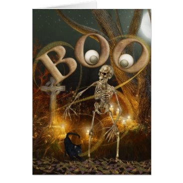 Halloween Themed Skeleton and Grave Halloween Card