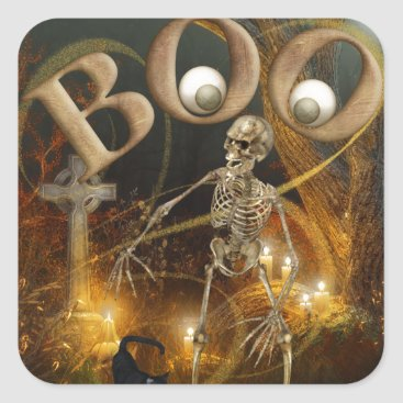 Halloween Themed Skeleton and Grave Halloween Square Sticker