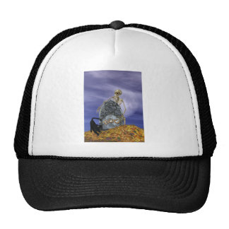Skeleton and Grave Stone Trucker Hats