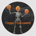 Skeleton and  Jack O' Lanterns Classic Round Sticker