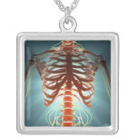 Skeleton and Nerves Square Pendant Necklace