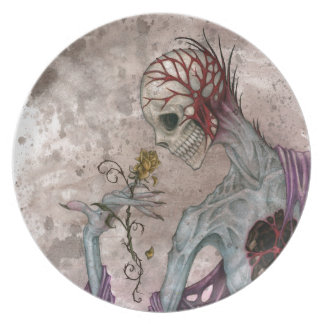 Skeleton and Rose Plates