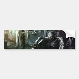 Skeleton And Woman in Coffin Bumper Sticker