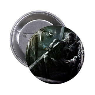Skeleton And Woman in Coffin Pinback Button