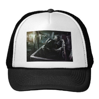 Skeleton And Woman in Coffin Trucker Hat