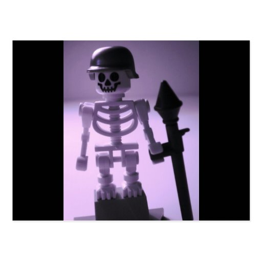 Skeleton Army Custom Minifigure Helmet & Bazooka Postcards