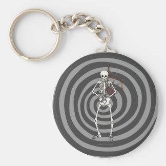 Skeleton Bagpipe Player Basic Round Button Keychain