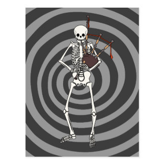 Skeleton Bagpipe Player Postcard