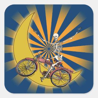 Skeleton Bicycle Square Sticker