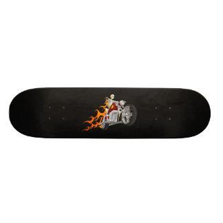 Skeleton Bike Rider With Flames: Skateboard
