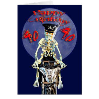 Skeleton biker 40th birthday card