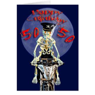 Skeleton biker 50th birthday card