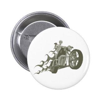 Skeleton Biker / Bike Rider: 2 Inch Round Button