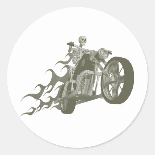 Skeleton Biker / Bike Rider: Classic Round Sticker