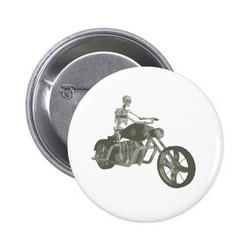 Skeleton Biker / Bike Rider: Halftone Style: Pin