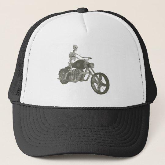 Skeleton Biker / Bike Rider: Halftone Style: Trucker Hat