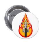 Skeleton Biker & Flames: Button