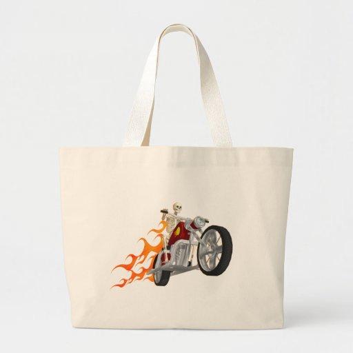 Skeleton Biker & Flames: Canvas Bag