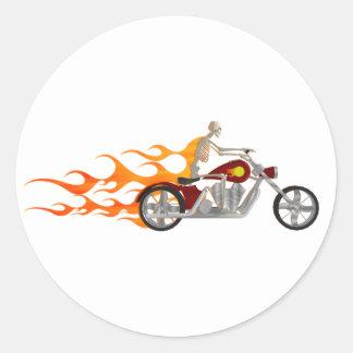 Skeleton Biker & Flames: Classic Round Sticker