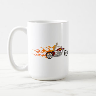 Skeleton Biker & Flames: Coffee Mug