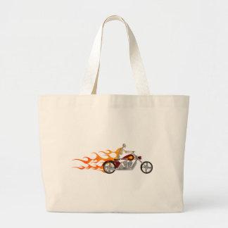 Skeleton Biker & Flames: Large Tote Bag