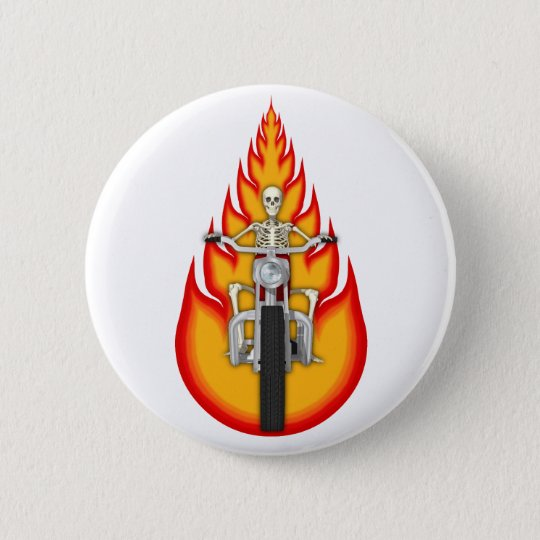 Skeleton Biker & Flames: Pinback Button