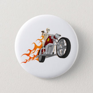 Skeleton Biker & Flames: Pinback Button