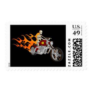 Skeleton Biker & Flames: Postage Stamps