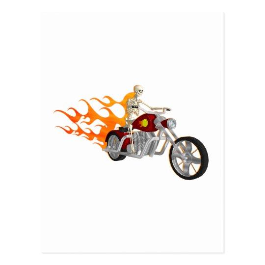 Skeleton Biker & Flames: Postcard