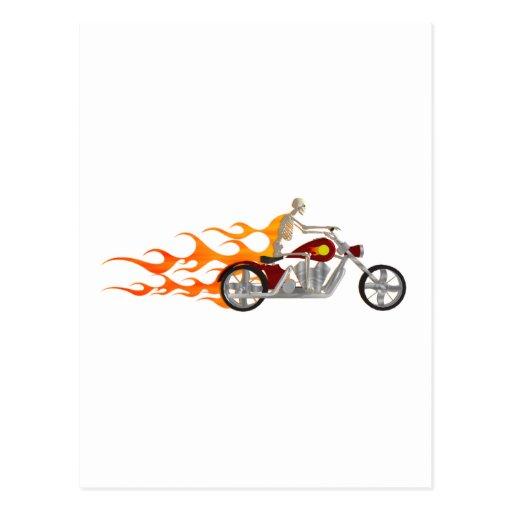 Skeleton Biker & Flames: Postcards
