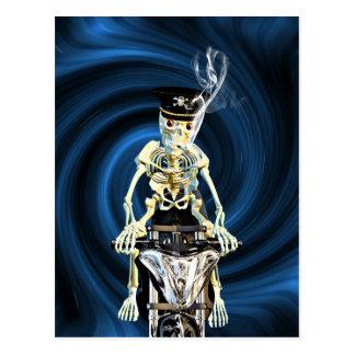 Skeleton biker smoking a cigarette postcard