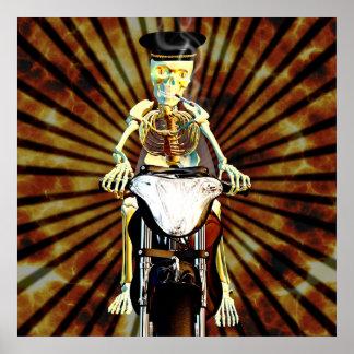 Skeleton biker smoking a cigarette poster