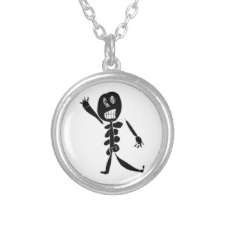 Skeleton Bob Silver Plated Necklace