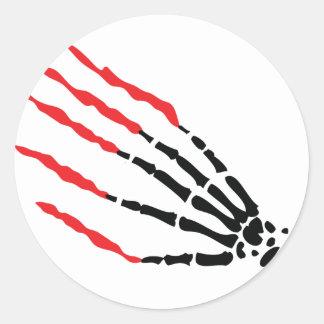 skeleton bone hand bloody scratches classic round sticker