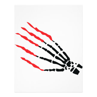 skeleton bone hand bloody scratches personalized letterhead