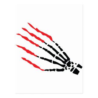 skeleton bone hand bloody scratches postcard