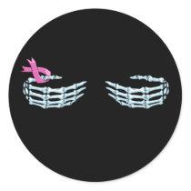 Skeleton Bone Hand With Pink Ribbon Classic Round Sticker