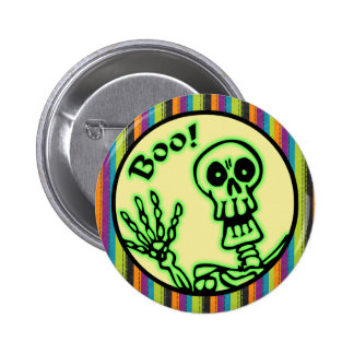 Skeleton Boo Halloween Button