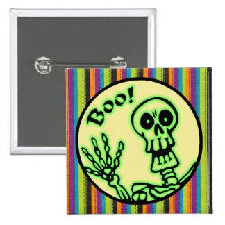 Skeleton Boo Halloween Pinback Button